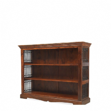Jali Sheesham Wood Low Bookcase
